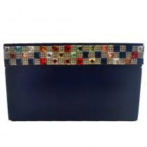 Porta costura quadrado com pedras de strass coloridas mdf marinho 18x18cm - Bololô