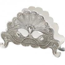 Porta Guardanapo Silver Plated Pavão - Lyor Classic -