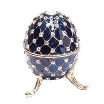 Porta joia oval prestige zamac azul 9,5x6cm -