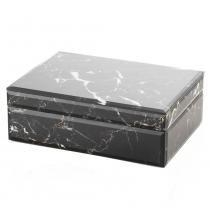 Porta jóias design marmore lyor vidro marrom 24x17cm -
