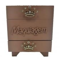 Porta maquiagem quadrado coroa strass mdf fendi 18x18cm - Bololô