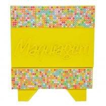 Porta maquiagem quadrado mdf com mini pedras coloridas amarelo 15x15cm - Bololô