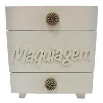 Porta maquiagem quadrado mdf coroa e puxador com strass branco 15x15cm - Bololô