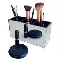 Porta pincel simples - Espelhado e preto - Acrihome design em acrílicos