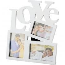 Porta-Retrato 3 Fotos Love Rojemac Branco - Rojemac