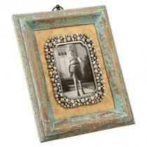 Porta-retrato de madeira speicher decorativo com pedras - Maria pia casa