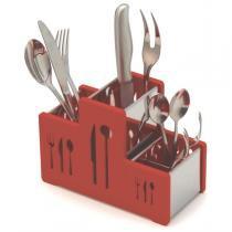 Porta talheres em aço inoxidável com lateral em plástico vermelho. - Soltecn