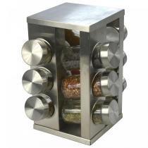 Porta Tempero em Aço Inox 12 Potes de Vidro CBRN06786 - Commerce brasil