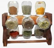 Porta temperos / condimentos giratório em madeira 12 potes - Tempero de cada dia