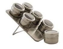 Porta Temperos E Condimentos Em Aço Inox Magnético 6 Potes - Importado