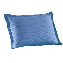 Porta Travesseiro AM-1558 Liso 70x50 cm com Barra de 3 cm e 2 Botões Azul - Döhler - Azul - Döhler