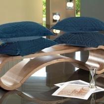Porta Travesseiro Blend Malha Azul Flint- Altenburg - Azul - Altenburg
