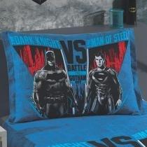 Porta Travesseiro Estampado com Barras Laterais Batman x Superman 02 1 peça - 100 Algodão - Dohler -