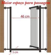 Portão grade de segurança para vãos de 70cm preto multiforma -
