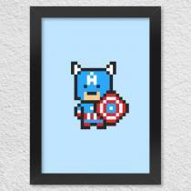 Poster com moldura capitão pixel américa - Yaay