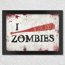 Poster com moldura i kill zombies - taco de baseball - Yaay