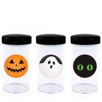 Pote de Acrílico com Tampa Halloween 70 ml 10 unidades - Festabox