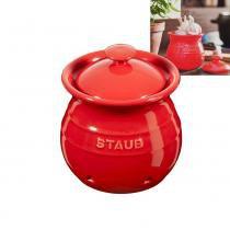 Pote de Cerâmica para Alho Staub Vermelho Cereja 12CM - 18387 -