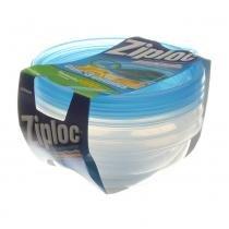 Pote de Plástico Ziploc com Capacidade de 400ml com 3 Unidades - Ziploc