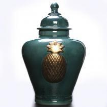 Potiche Decorativo Jade Green Abacaxi Dourado - Soul home