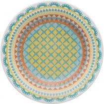 Prato de Cerâmica Fundo 23cm Floreal Bilro Oxford -