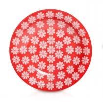 Prato de Porcelana Fundo Decorado Renda Biona Oxford - Vermelho / 23 Cm -
