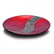 Prato madeira e pastilhas prestigie 2055 vermelho metálico 35cm - Rojemac