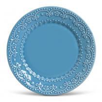 Prato raso esparta porto brasil cerâmica azul ø 26cm - Porto brasil