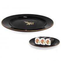 Prato Redondo Pequeno 15,5 Cm para Sushi Preto  Nihon Shikko -