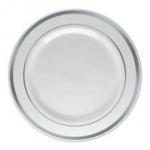 Prato Refeição Descartável Borda Prata 26 Cm 6 Unidades B0907006 - Silver  plastico 67effac47dd