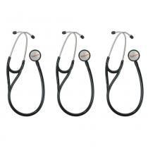Premium Estetoscópio Cardiológico Preto (Kit C/03) -