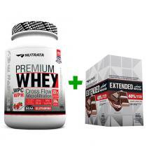 Premium Whey 900g Morango + Extended Whey Protein Bar - Display 12 unids - Chocolate Nutrata - Nutrata