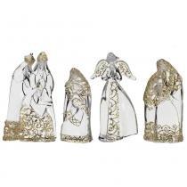 Presépio de Acrílico 4 peças 20.5cm Luzes Sagradas Santini Christmas -