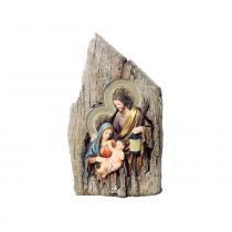 Presépio Sagrada Família Em Tronco C/ Luz 27x15 Cm Colorido - Cromus