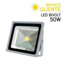 Projetor LED 50W Bivolt IP 65 Branco Quente - Global