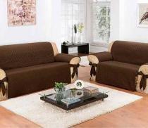 Protetor De Sofá Impermeável 2 E 3 Lugares - Fácil De Limpar - Chocolate - Pano Bordado