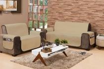 Protetor de sofá impermeável housen 2 e 3 lugares com porta controle bege - Housen