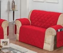 Protetor Para Sofá De 02 Lugares Com Assento De 1,20M Matelado Microfibra Lú Vermelho - Enxovais Ibitinga