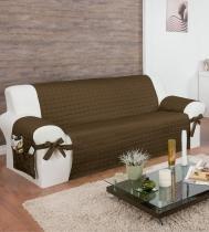 Protetor Para Sofá De 04 Lugares Com Assento De 2,10m Com Laços No Braço E Fitas No Encosto Tabaco - Enxovais Ibitinga