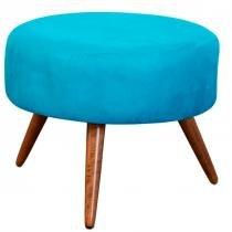 Puff Decorativo Angel Suede Azul - Nay Estofados