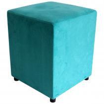 Puff Decorativo Quadrado Suede Azul Turquesa - Place decor