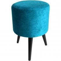 Puff Decorativo Redondo Pés Palito Imbuia Suede Azul Turquesa - Place decor