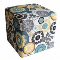 Puff Quadrado Decorativo Suede Floral Mandala - Nay Estofados - Nay Estofados