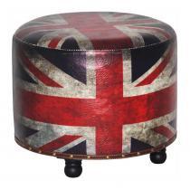 Puff Redondo London em Estofado Courino e Pés de Madeira Maciça - Falkk