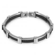 Pulseira Aço Convex Chapa Caucciu Simbolo Grego - Prata - Único - Rosana joias