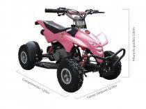 Quadriciclo 49cc BZ Dino Rosa automático partida a corda, gasolina e óleo 2tempos Barzi Motors -
