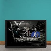 Quadro Decorativo Poker Marylin Monroe Elvis Presley James Dean Humphrey Bogart - Azul - 25x35 - Gorila Clube