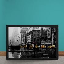 Quadro Decorativo Taxis Cidade Chuvosa - Cinza - 50x40 - Gorila Clube