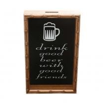 Quadro Porta Rolha De Vinho Bambu Drink Good Beer With Good Friends - F9-12664 - Woodart