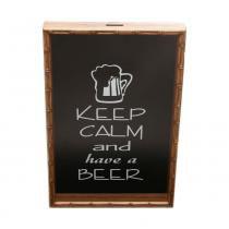 Quadro Porta Tampa De Cerveja Bambu Keep Calm And Have A Beer  - F9-12665 - Woodart